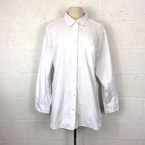 Gap Boyfriend White Button Up Shirt, Size: L